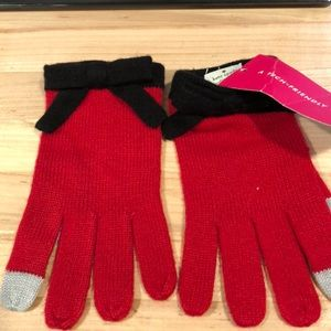 New Kate Spade red tech friendly glove with bow